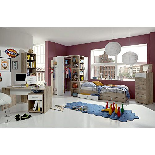 Amazon De Kinderzimmer Eck Kleiderschrank Begehbar Garderobe Sonoma Eiche Weiss Jugendzimmer Schlafzimmer Set Zimmer