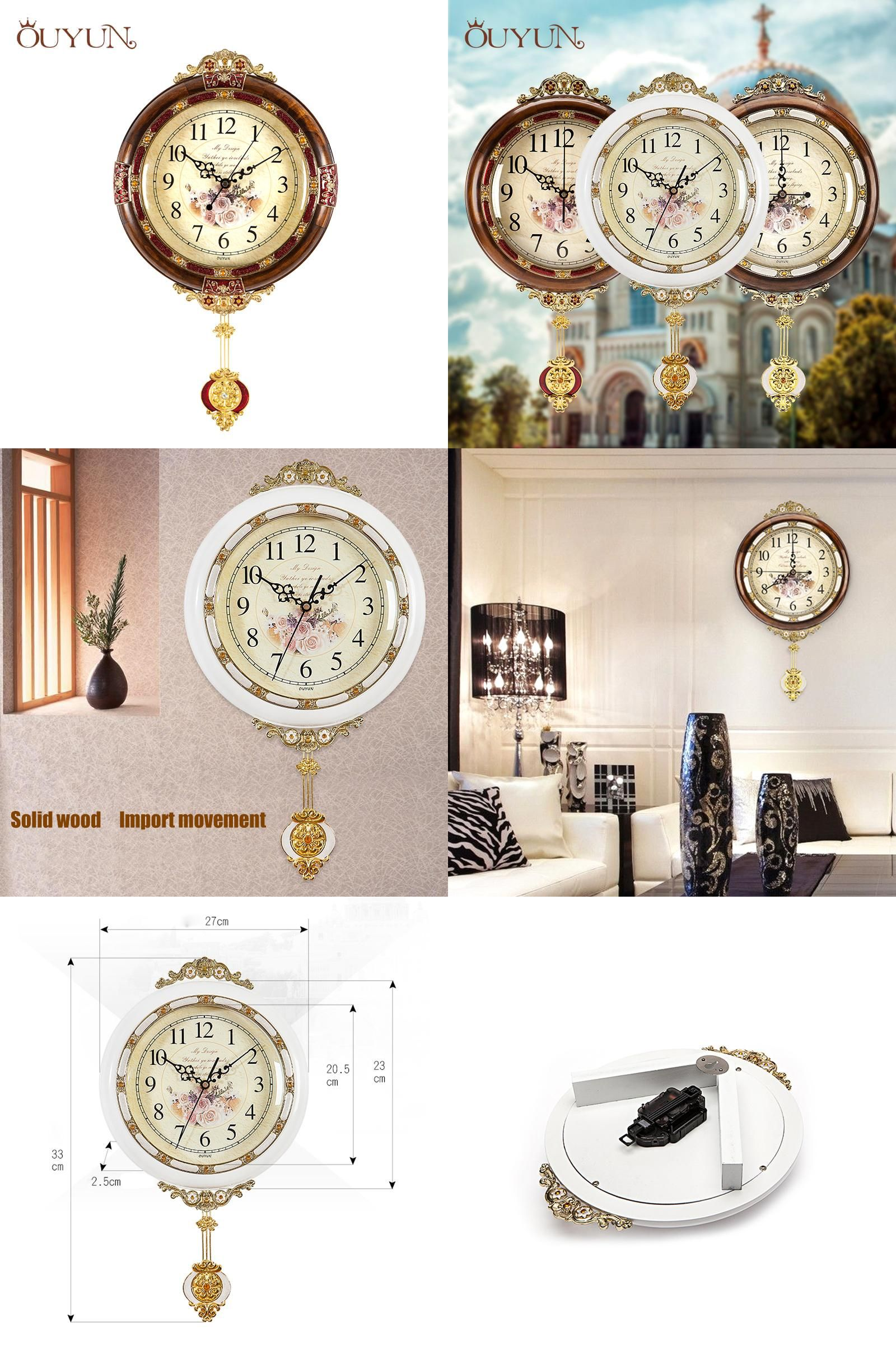 Visit to buy ouyun solid wood wall clock retro swinging walls visit to buy ouyun solid wood wall clock retro swinging walls clocks mingle quiet amipublicfo Images