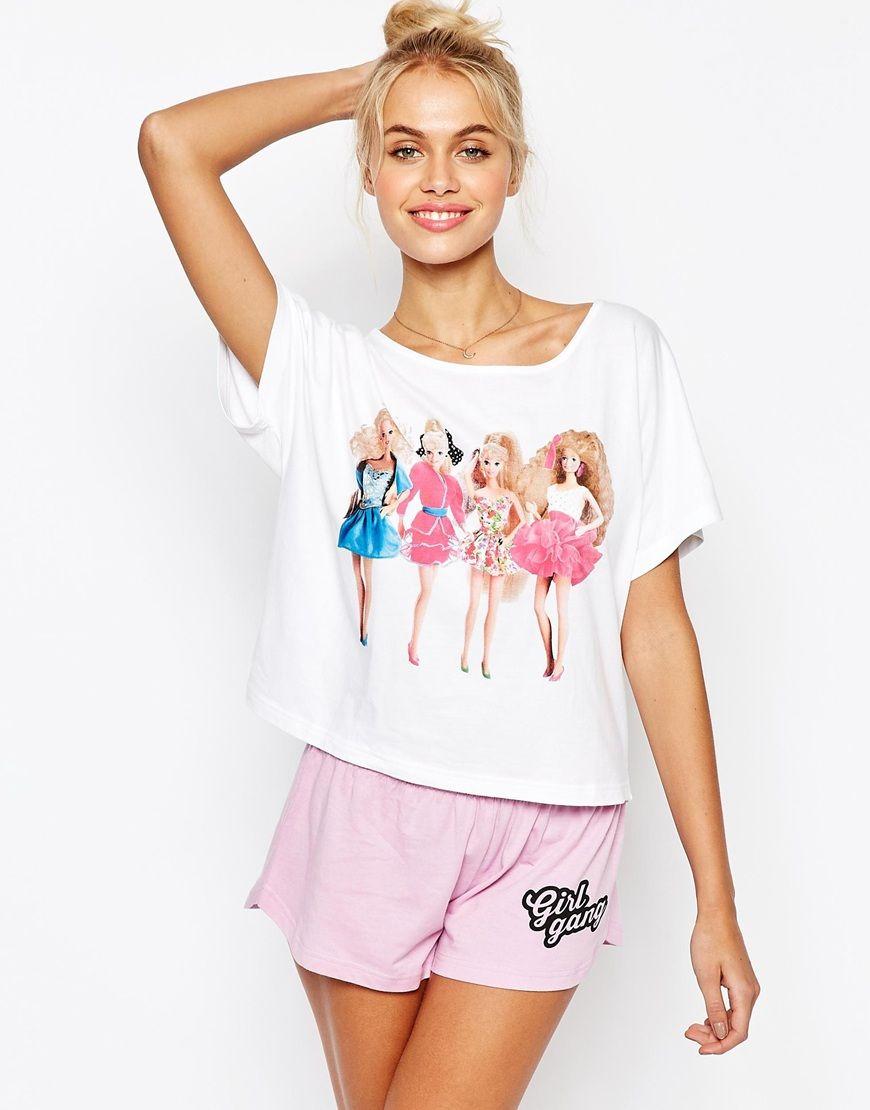 c21f6717f5 Image 1 of ASOS Barbie Girl Gang Short  amp  Tee Pajama Set https