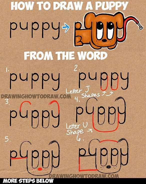 Learn How to Draw a Cartoon Puppy from the Word Puppy : Easy