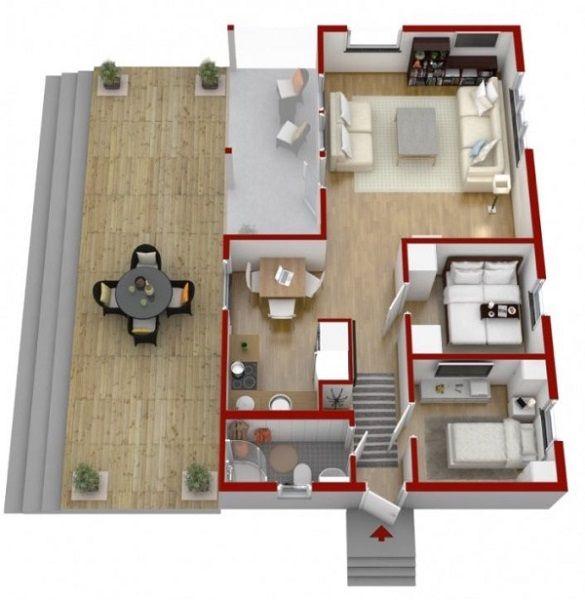 11 Schita 3d Casa Mica Din Lemn 3 Camere Cu Baie Si Bucatarie Suprafata 57 Mp Sweden House House In The Woods Small House