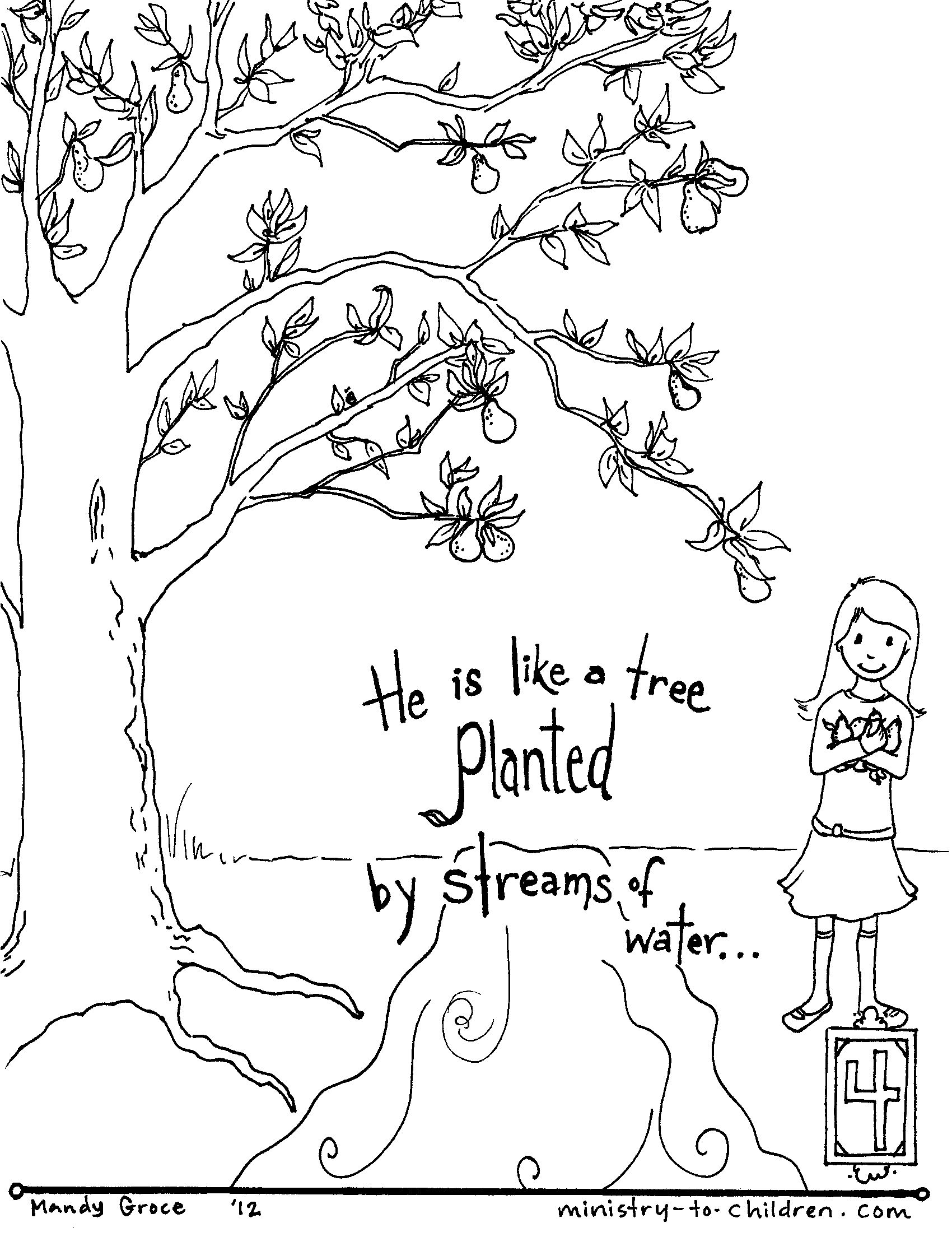 Free printable coloring pages for kids bible - Bible Coloring Pages By Verse Psalm 1 Free Coloring Pages Bible Verses