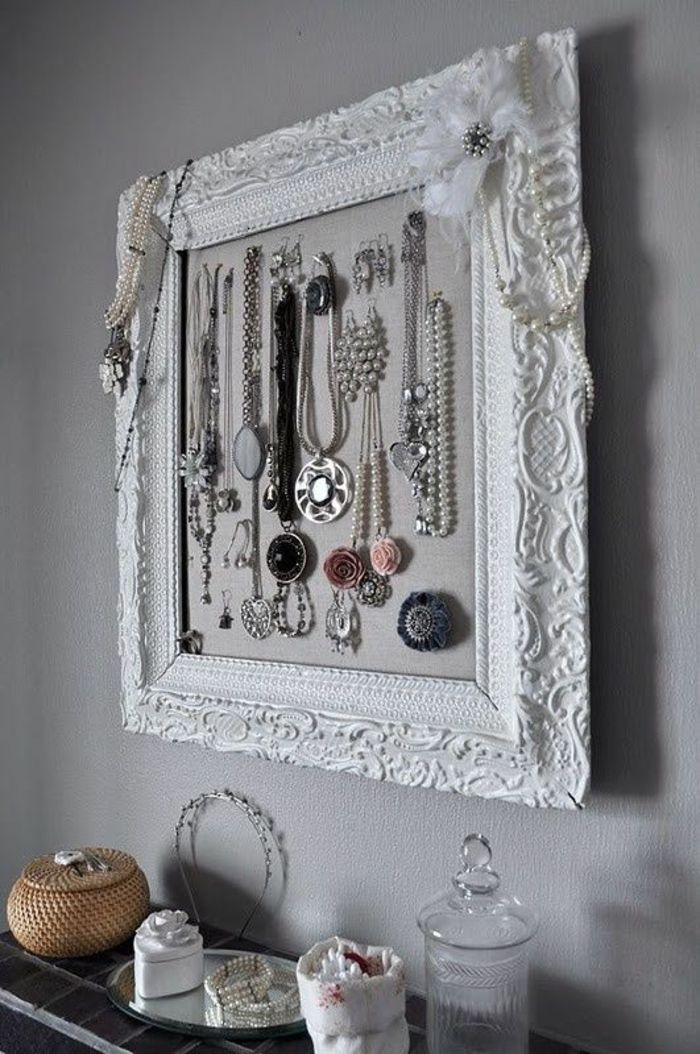 schmuckständer diy, weißer rahmn mit ornamenten, schmuck ...