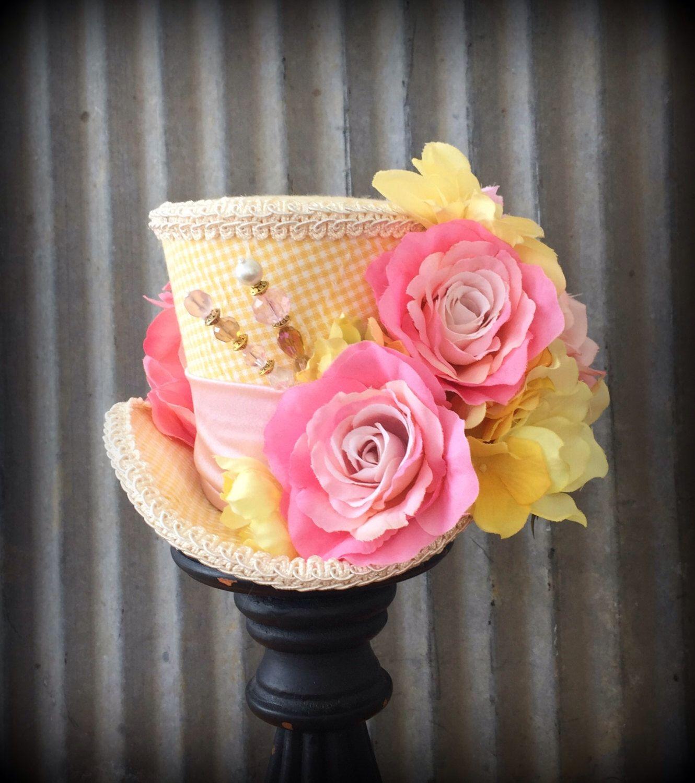 Bridal Mini Top Hat Tea Party Hat Floral Mini Top Hat Fascinator Wedding Mini Top Hat Kentucky Derby Mini Top Hat Fascinator Easter Hat