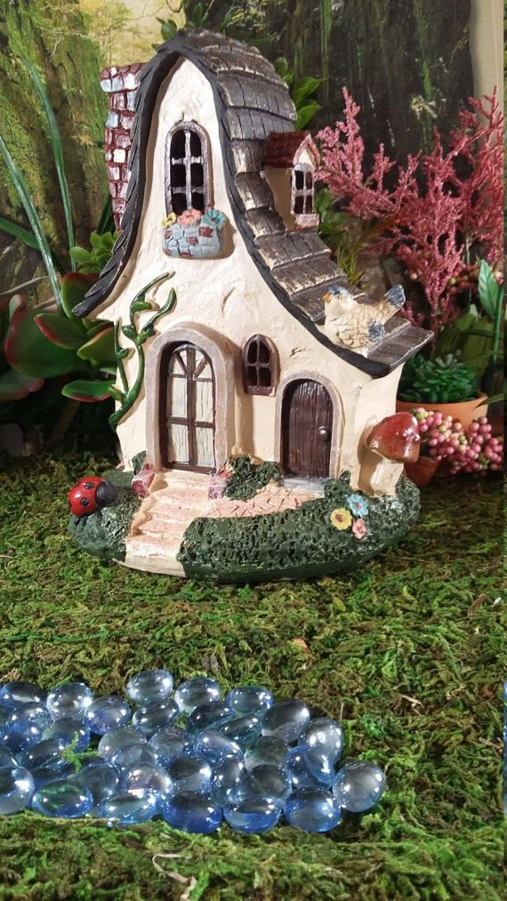 Fairy Garden House Resin For Your Woodland Sloped Roof Stucco Cottage