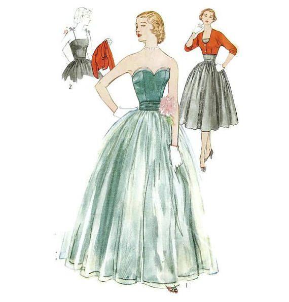1950s Fullskirted Evening Gown or Sun Dress and Bolero Pattern | VFG ...