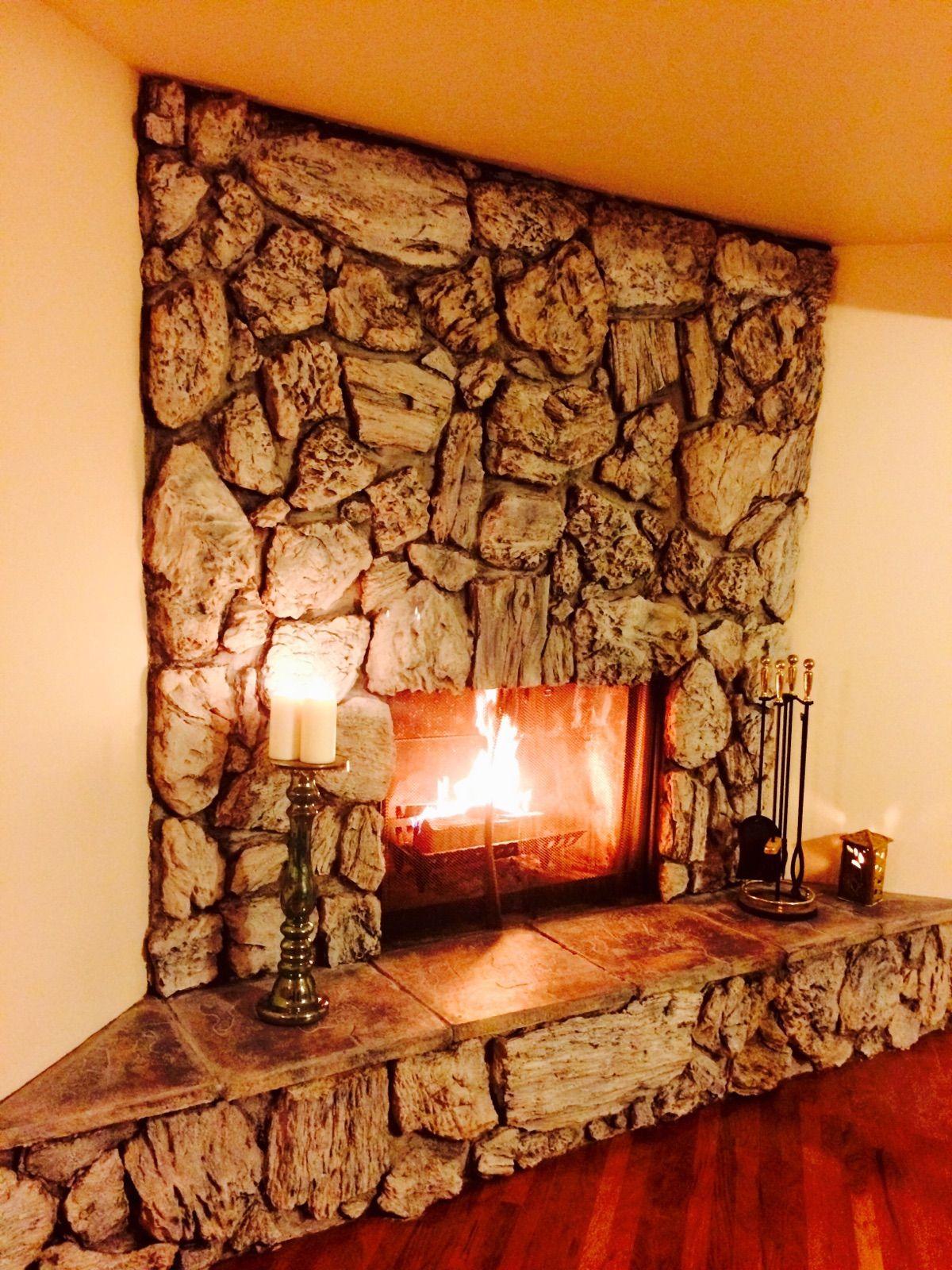 Fabulous Fireplace Redo - | Fireplace redo, Lava rock fireplace, Fireplace