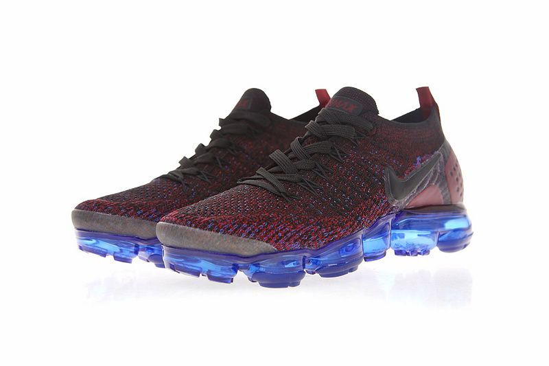 c653e772d75 Nike Air VaporMax Flyknit 2 0 Sneakers Black Dark Reddish Purple Blue  942843-006