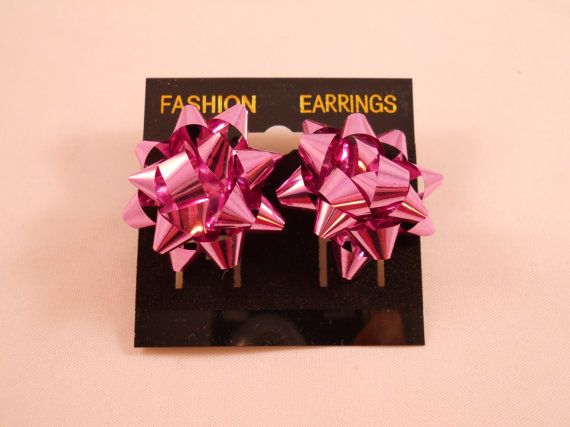 Pink Christmas Bow Earrings 1in pierced by chefginas on Etsy ...