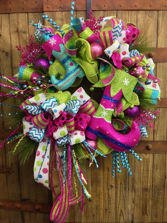 Candy Land Elf Boot Mesh Wreath on Etsy, $129.00