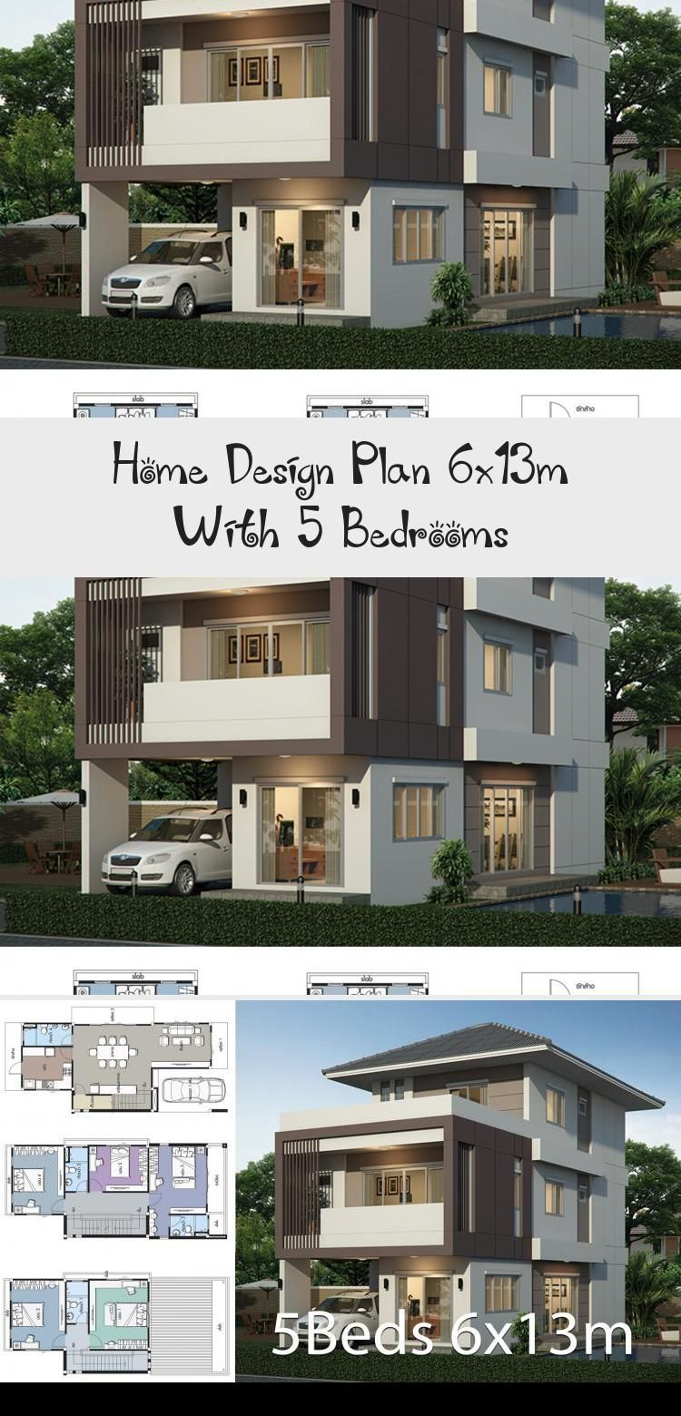 House Design Plan 6x13m With 5 Bedrooms House Plans 3d Duplex House Design Home Building Design Home Design Plan