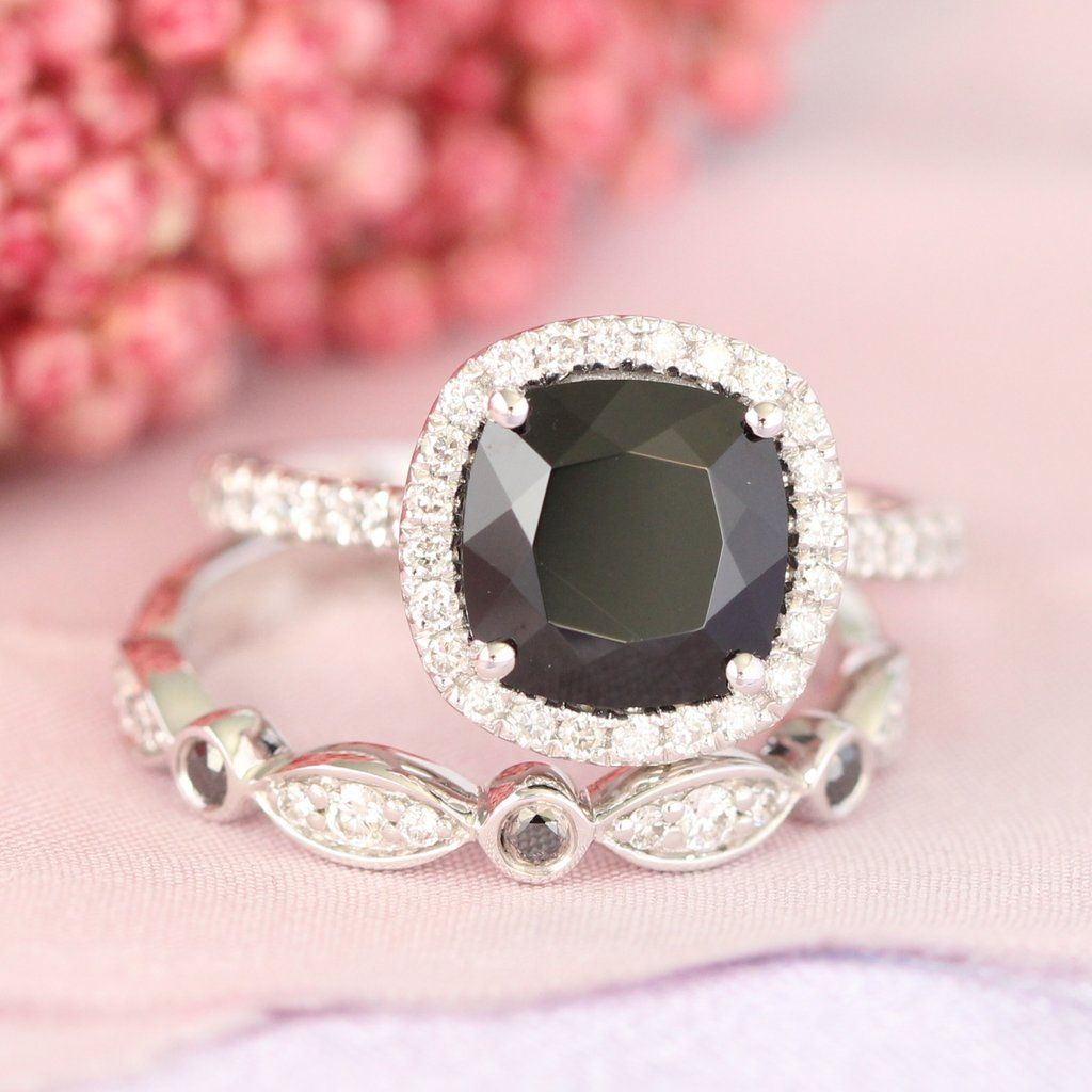 Cushion Black Spinel Ring Bridal Set in Black and White Diamond ...