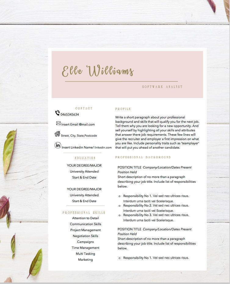 Creative Resume Template CV Design Teacher Word Graduate Cover Letter Colorful Instant Download