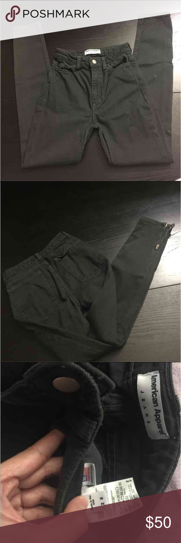 AMERICAN APPAREL JEANS New without tags. Size 25. Pls see 3rd pic for true color.. it's not black-black but kinda black/greyish in color American Apparel Jeans Skinny