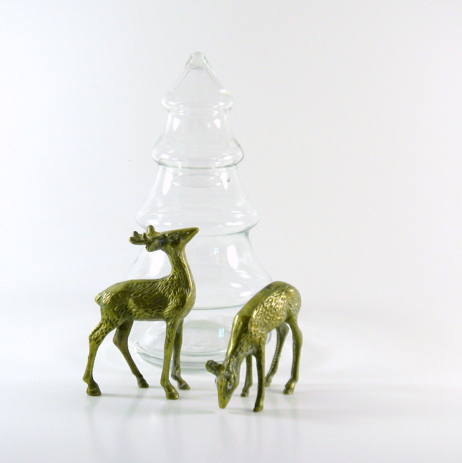 Vintage 1960s Rustic Brass Deer Couple, $18.50 from Bliss Vintage on Etsy