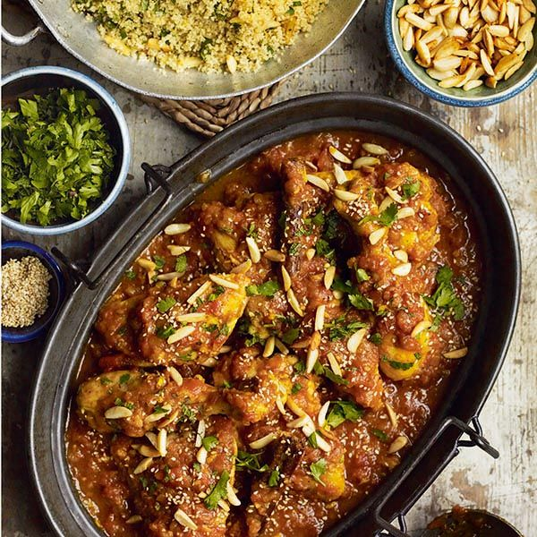 Pomegranate Chicken With Almond Couscous Recipe: North African Chicken With Honey And Saffron