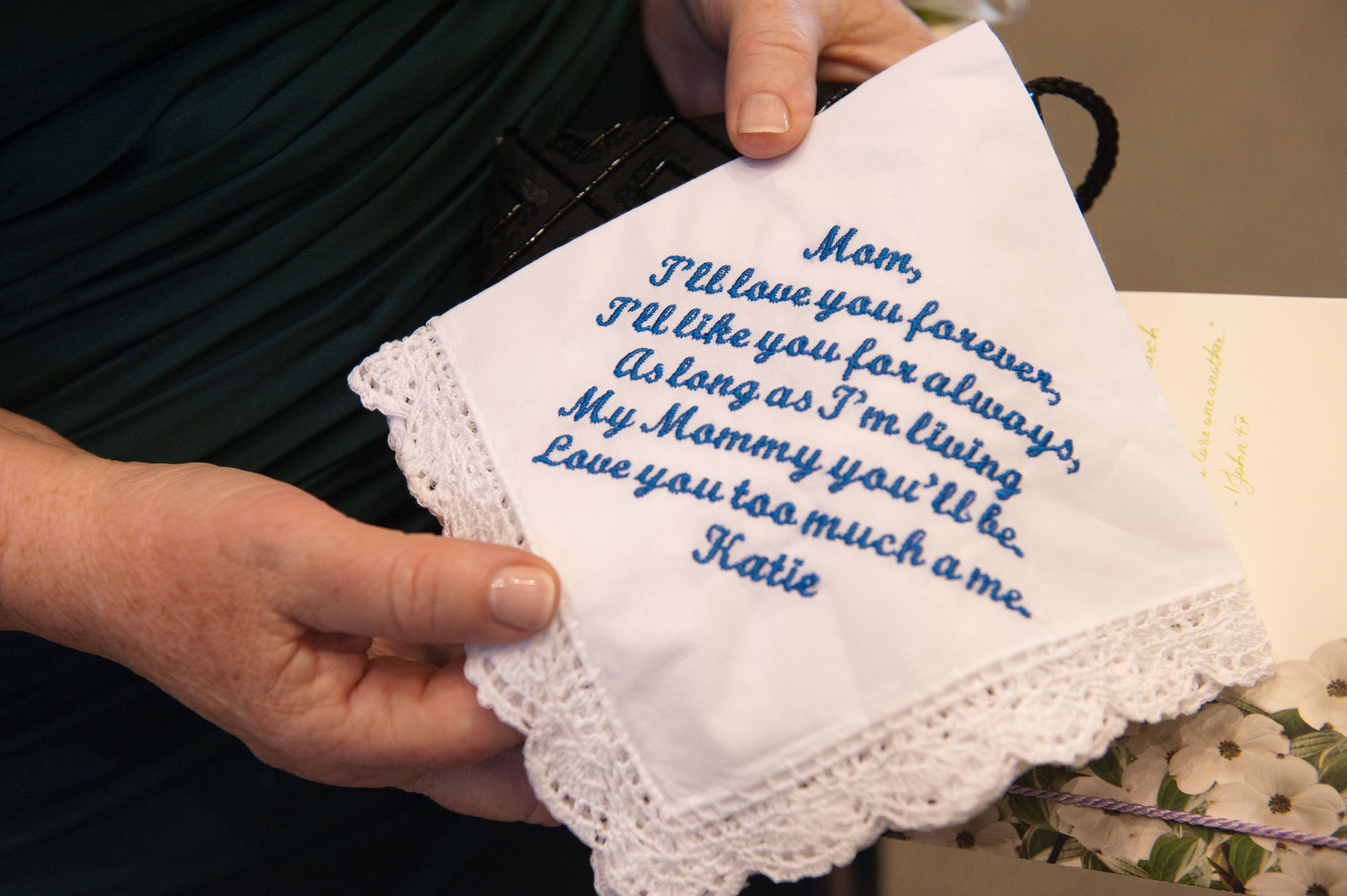 Parent gifts: I had handkerchiefs custom embroidered for each parent. This  is my mom's