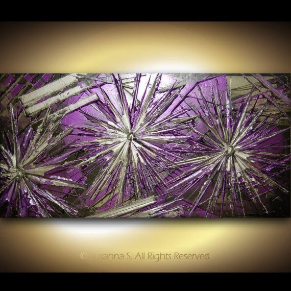 ORIGINAL Contemporary Abstract Palette Knife Painting by Susanna Metallic Purple Silver and Black Made2Order