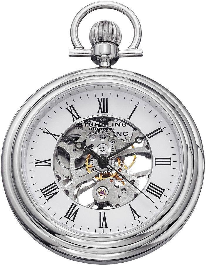 9cfc34ac7 Stuhrling Original Sthrling Original Mens Stainless Steel Skeleton  Automatic Pocket Watch