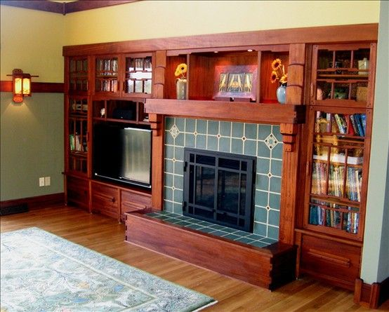 Craftsman Fireplace This Gorgeous Builtin Shelving And - Arts and crafts interior paint colors