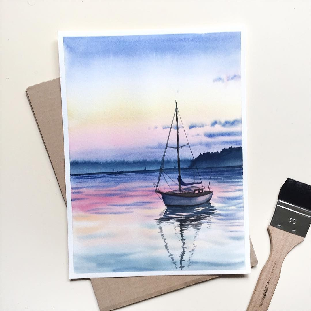 Gaining more and more confidence with watercolors. ⛵️ (original painting to be found in the shop )