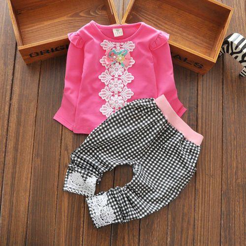 Girls-Kids-fashion-clothes-set-Lace-flower-pattern-shirt-top-pants-0-24Mo
