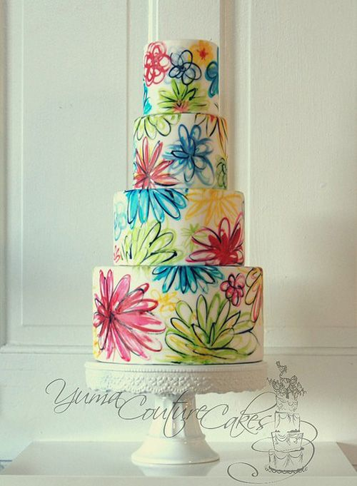 Lively Hand Painted Wedding Cake with abstract floral design.. Great idea for a spring-summer wedding