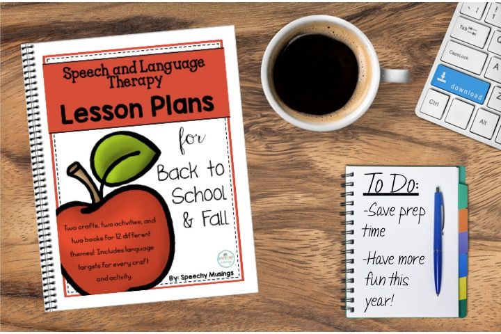 An amazing lesson plan file for speech therapy containing 2 crafts, 2 activities, and 2 book ideas for TWELVE back to school and fall themes! Great for groups or individual sessions.