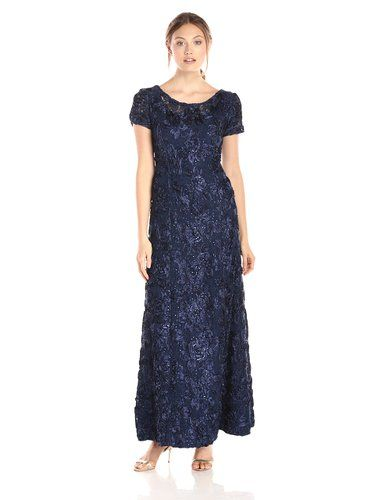 46701a36c49 Alex Evenings Women s Long A-Line Rosette Dress with Short Sleeves and  Sequin Detail at Amazon Women s Clothing store