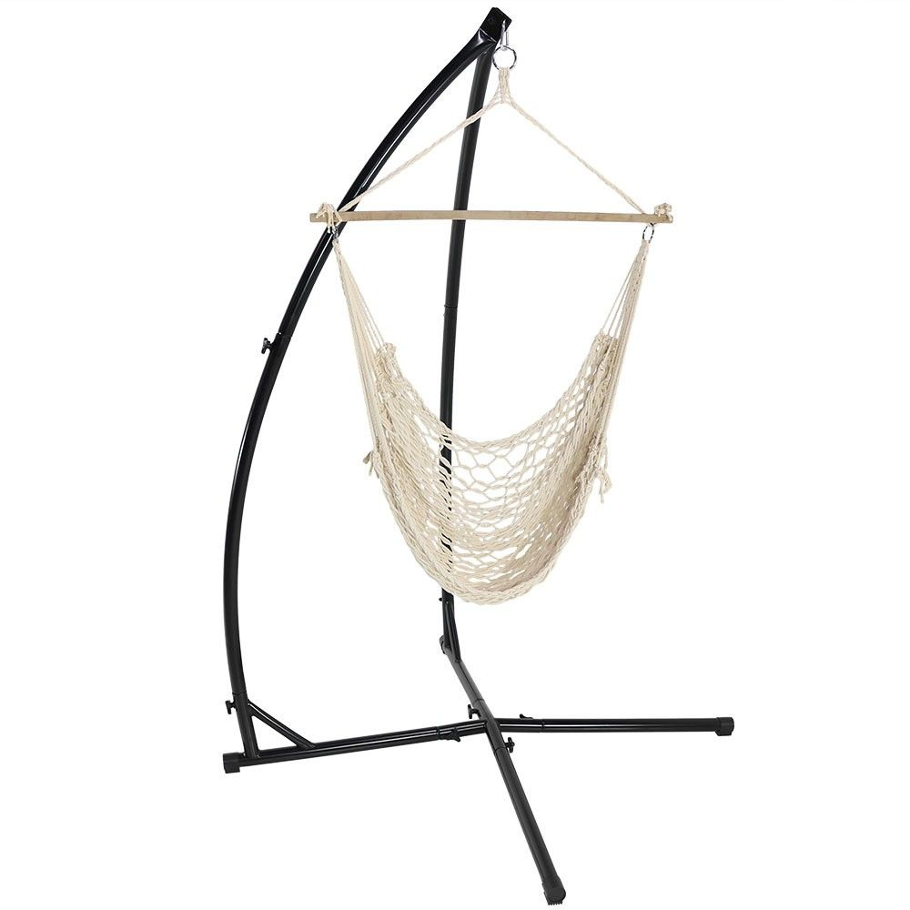 Cotton rope hammock chair and xstand offwhite beige