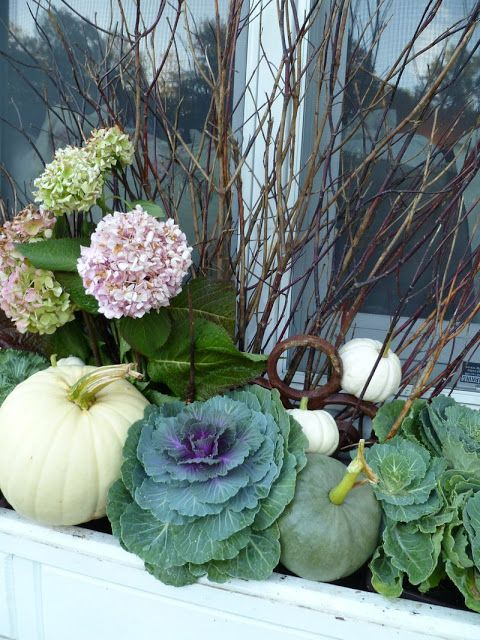 A mix of pumpkins, hydrangeas and cabbage plants are an early autumn natural masterpiece! Perfect for window boxes, aluminum tubs and long, low planters!  35 Fabulous Fall Decor Ideas - The Cottage Market