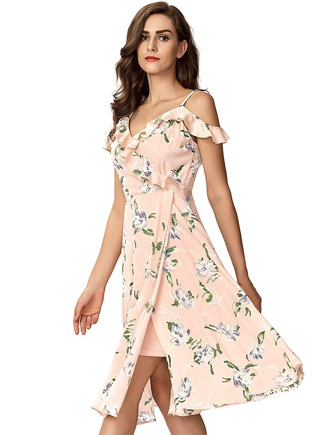 8cd8309772aac Noctflos Women's Summer Floral Cold Shoulder Midi Dress for Casual Cocktail  Wedding Guest at Amazon Women's Clothing store: