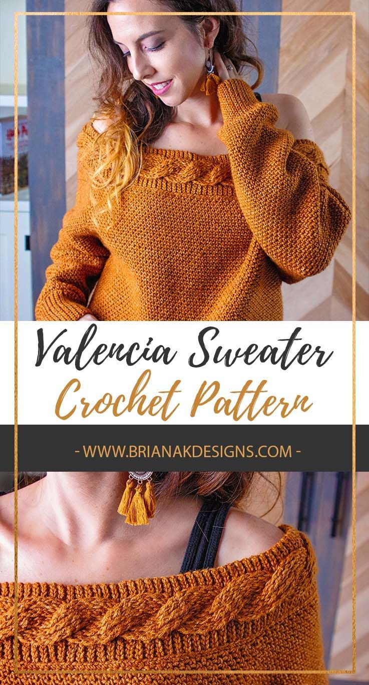 Crochet Cables Over A Background Of Crochet Rib Stitches Introducing The Valencia Crochet Cable Sweater Sweater Crochet Pattern Crochet Cable Sweater Pattern