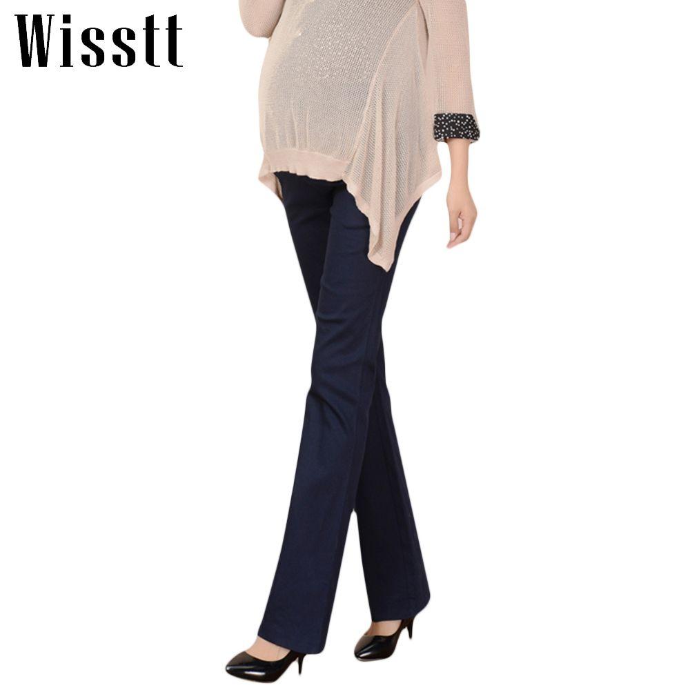 Wisstt Plus Size Maternity Pants Pregnant Abdomen Wide Leg Office Bell Bottom High Waist Solid