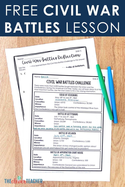 Free Civil War Battles Lesson Civil War Lesson Plans Civil War Lessons Social Studies Middle School [ 1500 x 1000 Pixel ]