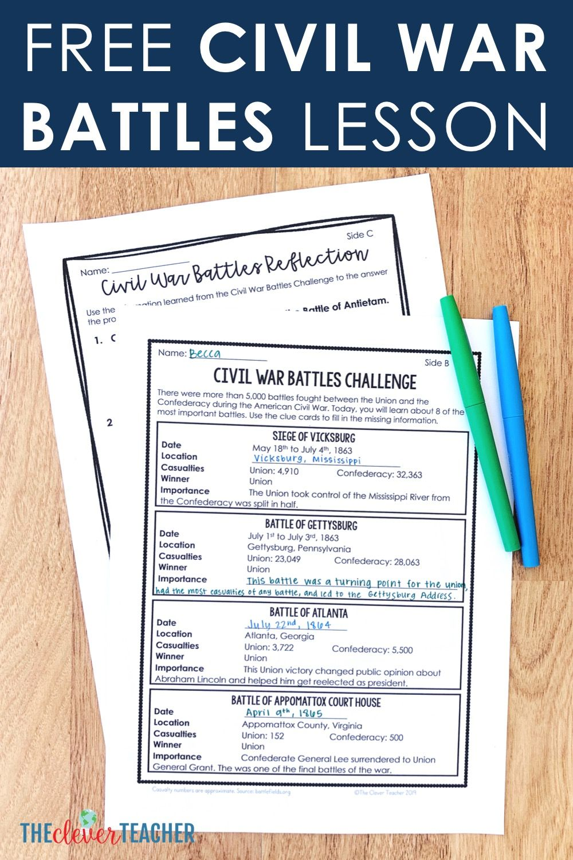small resolution of Free Civil War Battles Lesson   Civil war lessons