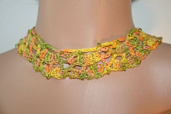 Boho chic crochet necklace  french handmade  by KazamarieDesigns, €29.00