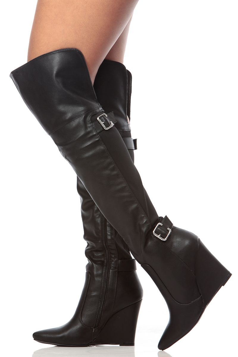 6701f7e4877b Black Faux Leather Pointed Toe Thigh High Wedge Boots   Cicihot Boots  Catalog women s winter boots