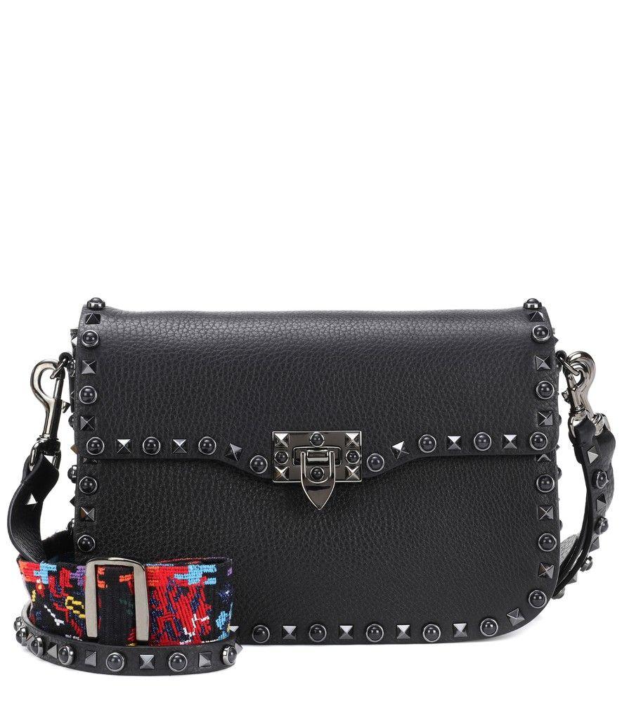 Valentino - Valentino Garavani Rockstud Rolling leather shoulder bag -  Updated for Resort 2018 in black 2fcd3fcfdef5b