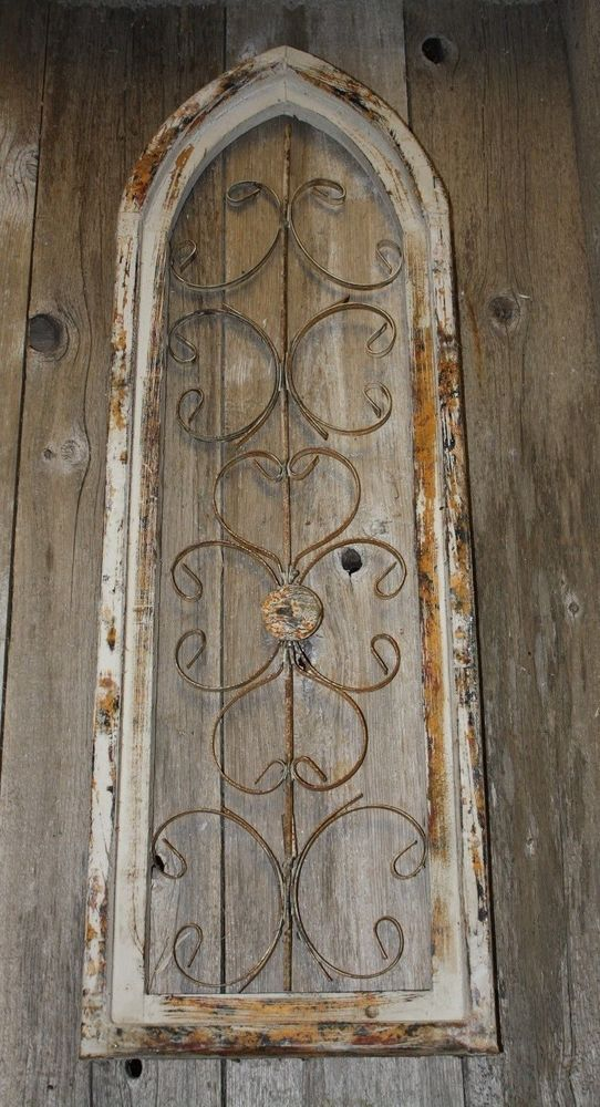 36 Stylish Primitive Home Decorating Ideas: Details About Wooden Antique Style Church WINDOW Wrought