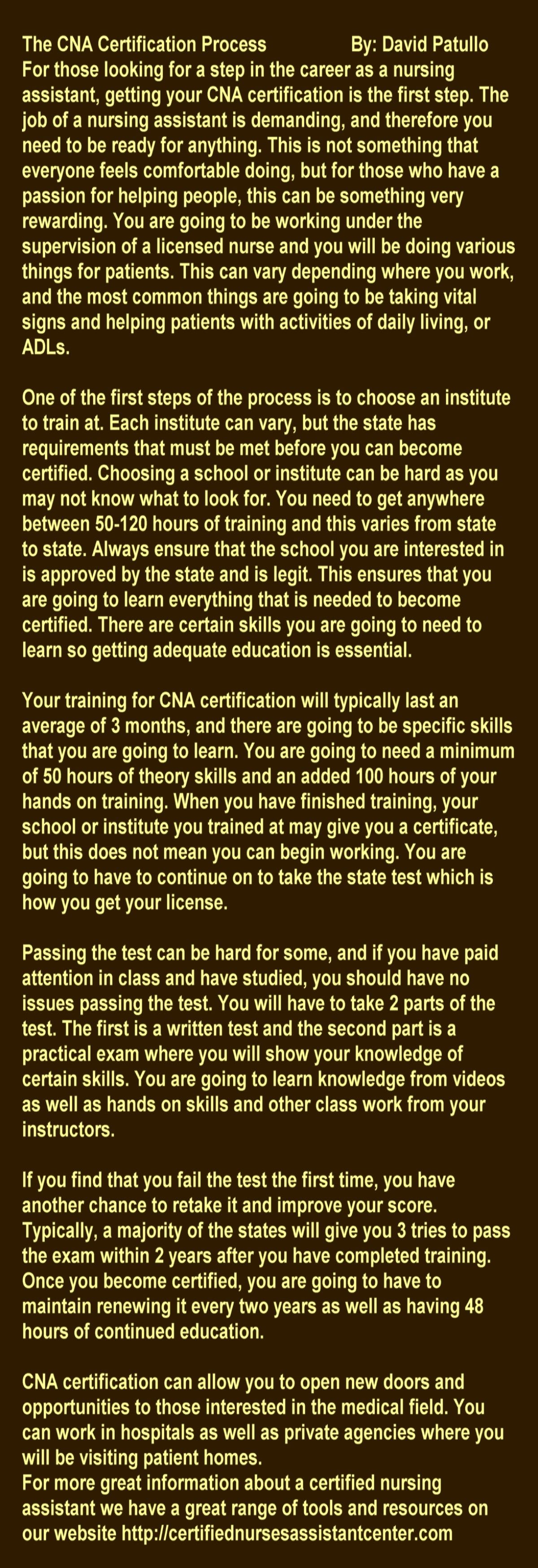 The cna certification process by david patullo httpmyartsubmit the cna certification process by david patullo httpmyartsubmit xflitez Choice Image