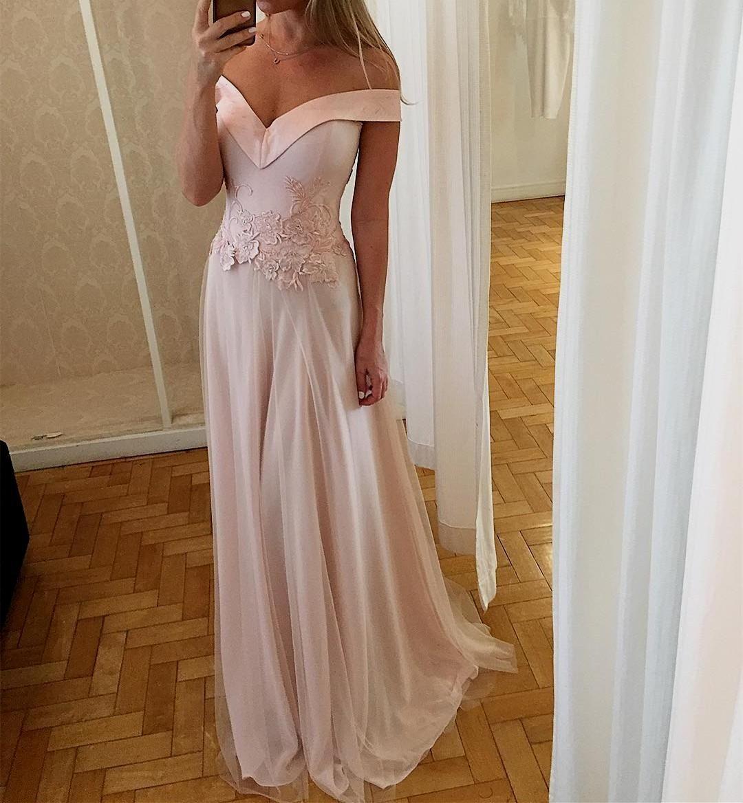 Light pink off the shoulder long prom dresstulle sheath evening