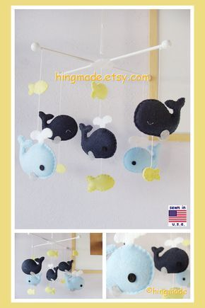 Whale Baby Mobile Navy And Yellow Nautical Neutral
