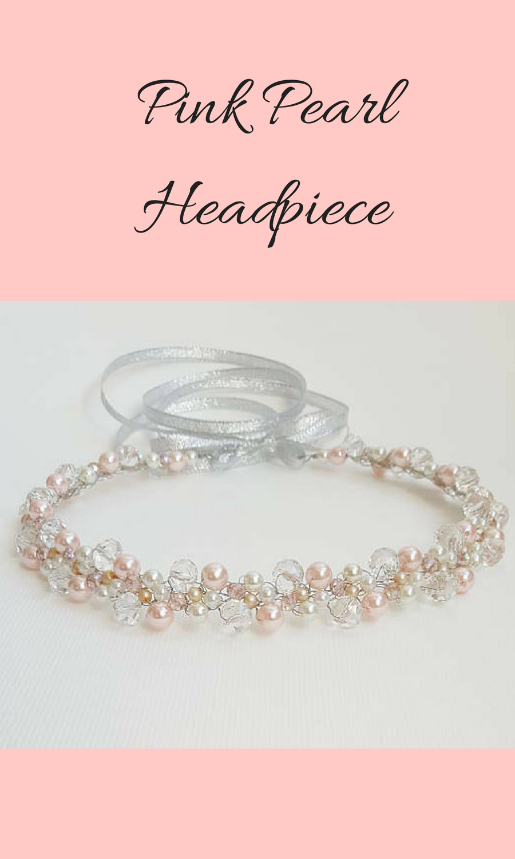 Bridal Pearl Crown,Bridal Tiara,Pink Pearl Headpiece,Hair ...