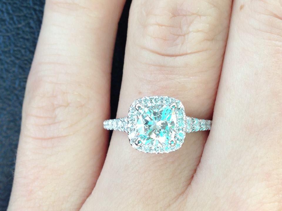 my 1ct cushion cut cushion halo wedding ring with