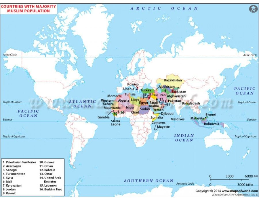 Buy Map of Muslim Countries of World  Muslim Buy maps and Country