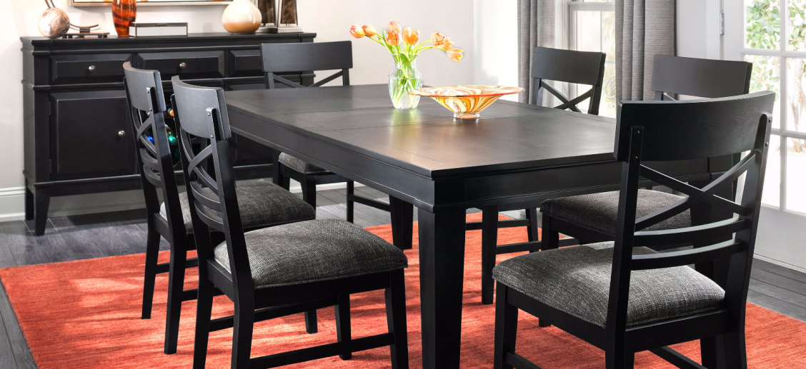 Breakfast Lunch Or Dinner Dine In Style With The Halden 7 Piece Dining Set Perhaps The First Thing You Ll Notice Is This Black Dining Set Dining Dining Set