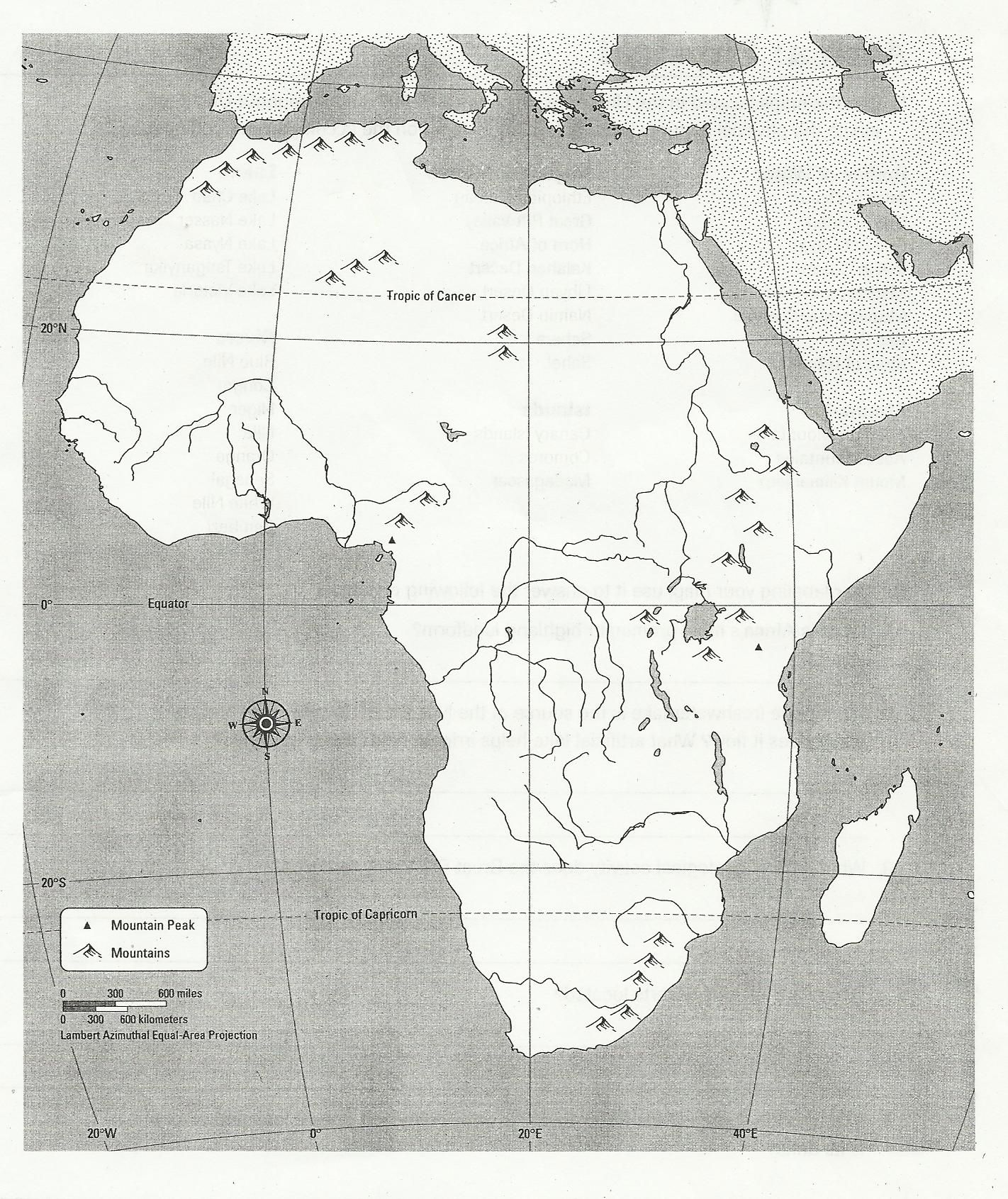 Blank Africa Physical Map | Too cool for school | Geography