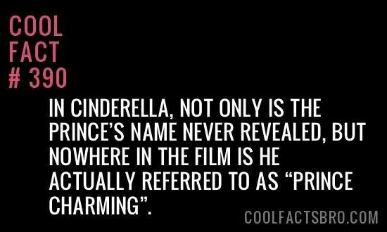 """In Cinderella, not only is the prince's name never revealed, but nowhere in the film is he actually referred to as """"Prince Charming""""."""