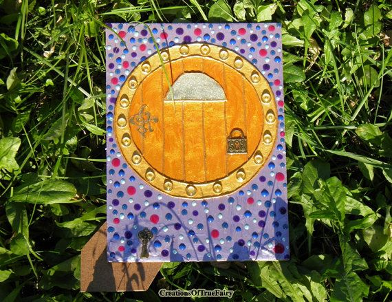 #Handmade and hand painted unique Hobbit door. Nice décor for home & garden. Good #gift for people of any age and for any occasion.  Every door I create by myself in the sing... #handmade #pendant #botanical #creationsoftruefairy